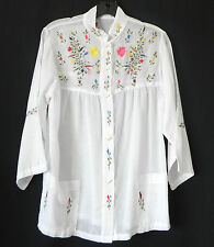 Vtg Hand Made Buttun Down Shirt Rare White Embroidery Pockets 3/4 Sleeve Size L