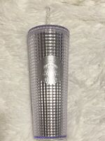 New 2019 Starbucks Silver Studded Cold Cup Tumbler Winter Holiday 24 oz