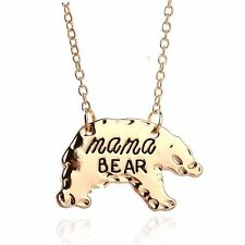 MAMA Bear Mom Necklace Gold Chain Charm Animal Pendants Women Mother's Gifts