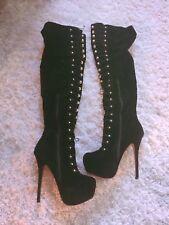 Thigh High Boots Platform Black Suede Fetish Burlesque PinUp Retro 9
