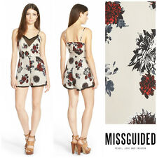 ffaf4b4c0b3 MISSGUIDED FLORAL STRAPPY SILKY PLAYSUIT ROMPER Sz 4 UK 8 NEW Nordstrom