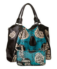 Banned Banned Sugar Skull Skeleton Bones & Roses Large Handbag and Wallet SET