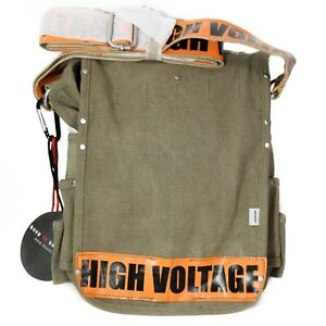 NWT Ducti Mens Canvas Utility Tablet Messenger Bag Olive High Voltage 10308OE