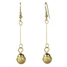 Boucles d'oreilles plaqué or pendantes tige boule dorée cristal Swarovski blanc