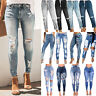 Womens High Waist Stretch Denim Jeans Ripped Skinny Jeggings Trousers Long Pants