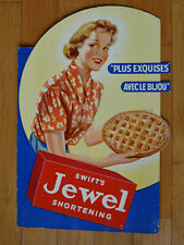 1940's Swift's JEWEL SHORTENING Advertising Cardboard Counter SIGN French Canada