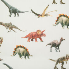 100% Cotton Poplin Fabric DINOSAUR T-REX SILVER GREY Kids Sewing Material