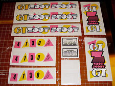 1987 GT BMX Zoot Scoot, scooter restoration decal set on clear PINK & YELLOW