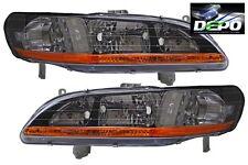 98-02 Honda Accord OE Style Black Bezel Head Lights PAIR DEPO