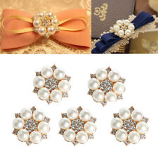Flower Pearl Rhinestone Buttons Flower Flatback Wedding Craft Embellishment DIY