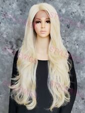 Light Blonde Long Loose Wavy Curls Lace Front Heat OK Human Hair Blend Wig EVES