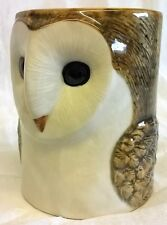 QUAIL CERAMIC BARN OWL DESK TIDY, PENCIL, PEN, BRUSH POT OR VASE - BIRD OF PREY