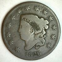 1826 Coronet Large Cent US Copper Type Coin 1c Good Circulated Penny
