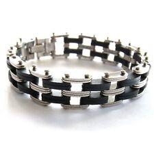 Herrenarmband Edelstahl schwarz silber trendy Gliederarmband sportlich 22 cm