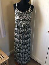 Primark Black / White Decorative Maxi Dress Sz 10