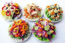 Mixed Assorted 5 Salad Dollhouse Miniature Food, Barbie Food ,Tiny Food