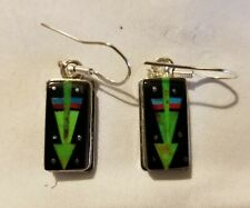 Navajo Inlay Turquoise/Onyx Earrings - Signed