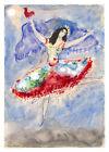 "Vintage French Art Mark Shagal CANVAS PRINT Dancing Girl Blue poster 24""X16"""
