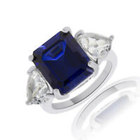 Emerald Cut  Blue Sapphire & Trillion White Simulanted 14K Gold Over Silver Ring