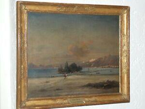 """Huile sur toile """" Genève """" peint par Jean-Michel GROBON (1770-1853) LYON France"""