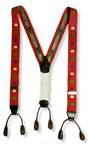 Dooney & Bourke Suspenders Braces Red Multicolored Squares Leather Gold Brass