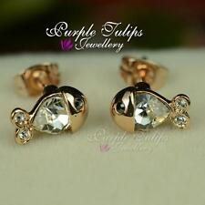 18CT Rose Gold Plated Cute Mini fish Stud Earrings Made With Swarovski Crystals