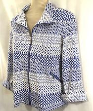 Erin London Womens Jacket Plus Size 1X Blue White Print Full Zip Front Stretch