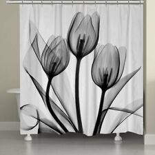 Lotus Gray Flower Fabric Waterproof Shower Curtain with 12 Hooks 72 x 72 inch