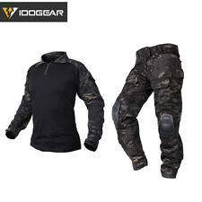 IDOGEAR Mens G3 Tactical Combat T-shirt Pants BDU Uniform Airsoft MultiCam Black