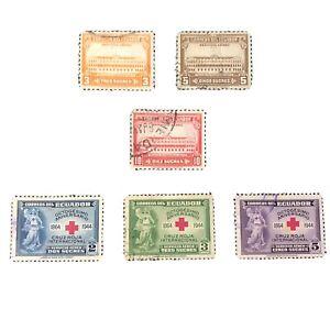 ECUADOR, SCOTT # C128-C130(3)+C131-C133(3) 1944-45 PALACES +RED CROSS AIR  USED