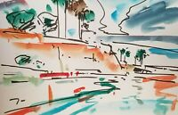 JOSE TRUJILLO ORIGINAL Watercolor Painting Expressionism 6x9 SHORE CLIFF SEA SKY