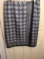 Talbots Women's Silk Wrap Straight Career Skirt Size 10 Colors Blue White-Black
