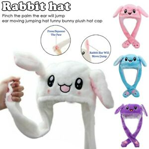 Rabbit Hat Cute Ear Moving Jumping Funny Bunny Plush Cap For Women Girls Gift US