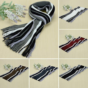 Mens Neckerchief Long Cashmere Scarf Striped Tassel Casual Shawl Stripe Wrap