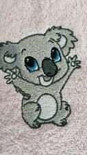 Happy koala machine embroidered face washer novelty gift. Flannel, baby souvenir