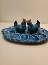 Rare Blue! Vintage Egg Holder tray plate with Salt and Pepper Shakers
