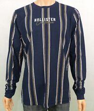 Hollister Mens Stripe Logo Graphic Tee T-Shirt Navy XL RRP £25