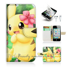 ( For iPhone 4 / 4S ) Wallet Case Cover! Cute Pikachu and Girl Friend P0168