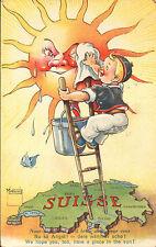 CARTOLINA SVIZZERA SUISSE NU KA ANGST ! DERE WAMMER SCHO ! 1956  C4-868