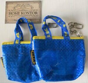 2x IKEA KNÖLIG Tasche Schlüsselanhänger Top klein blau Geldbeutel HOME KONTOR