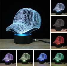 BASEBALL CAP 8 Color Change Cardinal 3D Visual Night Light USB Lamp Touch Gift