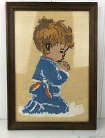 Vintage Framed Needlepoint Praying Boy on Knees Blue Pajamas Completed