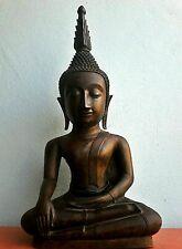 25 '' Antique Thai Chang Rung Buddha Bronze Bigger Head Figure Good Collect RARE