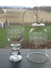 2 Homco Home Interiors Park Lane clear glass scroll votive candle holders/cups