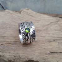 Peridot Stone Solid 925 Sterling Silver Spinner Ring Meditation Ring Size V906