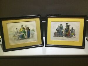 Pair antique framed prints Chinese subjects country house