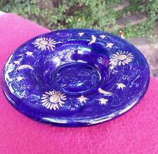 Incense Holder Dish Cobalt Blue Celestial Hand Blown Art Glass Aromatherapy