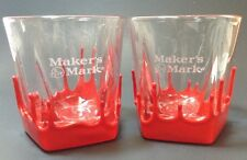 Lot of (2) MAKERS MARK Red WAX Bourbon Whiskey Lowball 8 oz Tumbler Bar Glasses