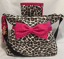 $158 BETSEY JOHNSON Large FUCHSIA CHEETAH LEOPARD Baby Diaper Bag BOW Weekender