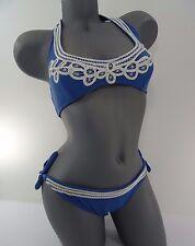 Victorias Secret Swim Blue White Lace Crochet Bikini Top Bottom size S